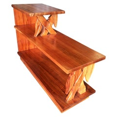 Restored Midcentury Hand Carved Bamboo Pattern Mahogany Side Table