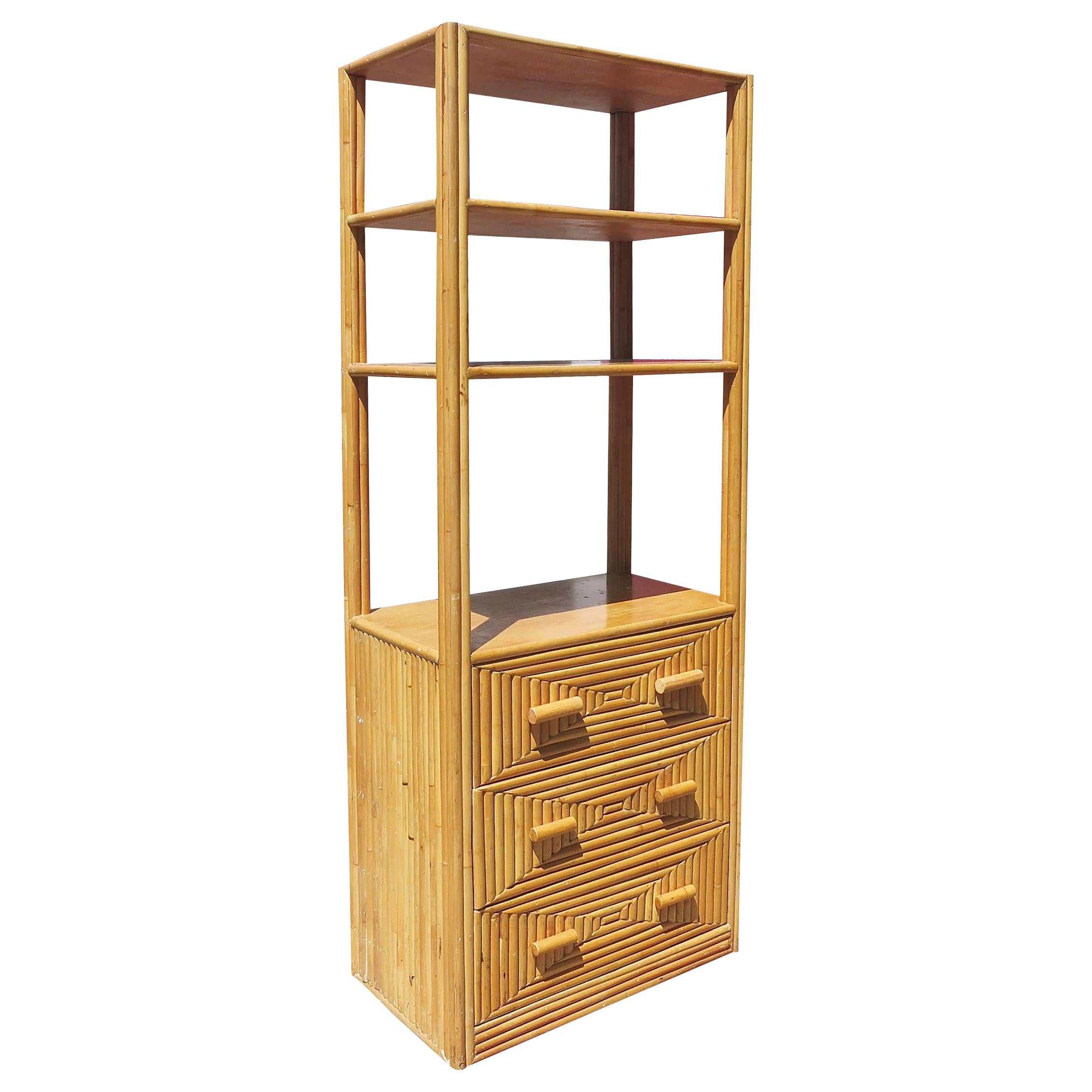 Restored Midcentury Rattan and Mahogany Display Cabinet with Drawers