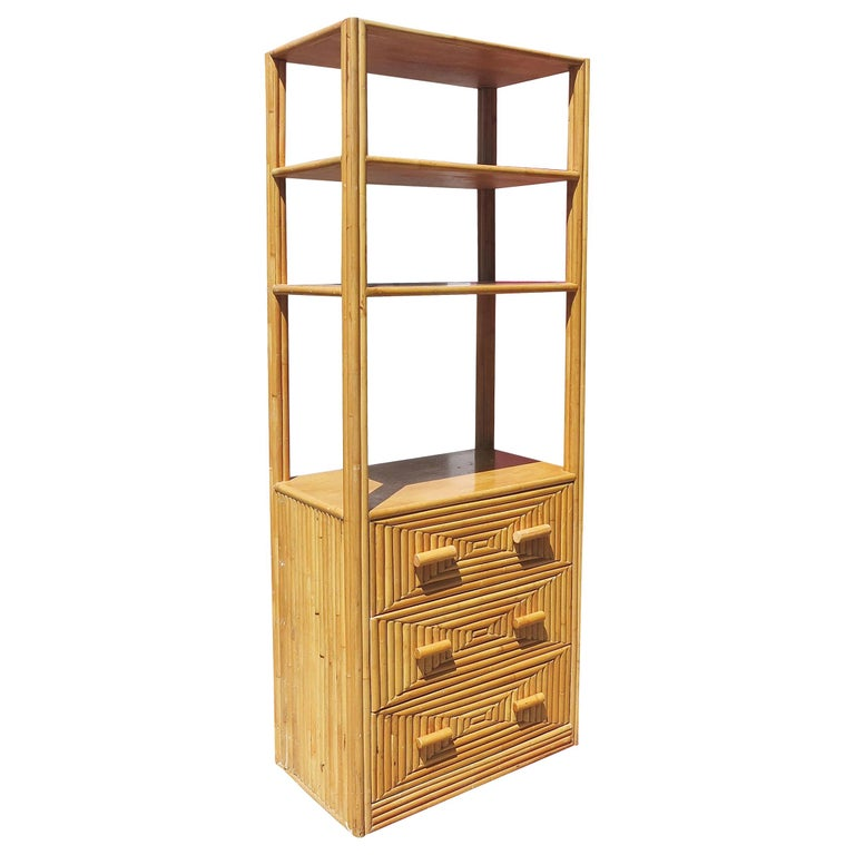 Restored Midcentury Rattan and Mahogany Display Cabinet with Drawers For Sale