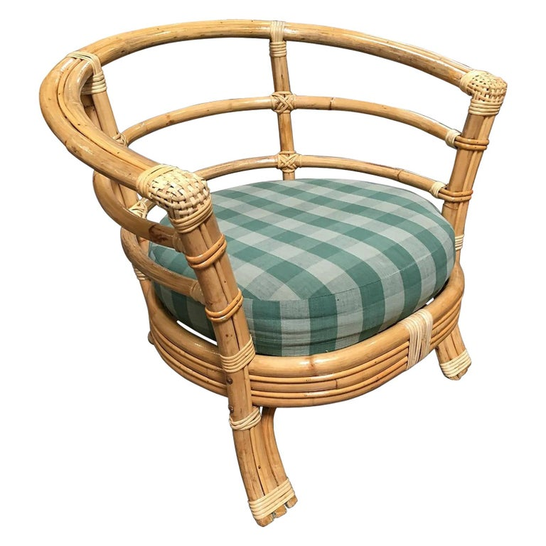 Restored Midcentury Rattan Barrel Shaped Armchair with Skeleton Arms For Sale