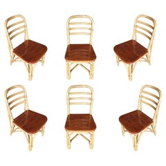 Restored Midcentury Rattan Dining Side Chair with Mahogany Seat, Set of Six