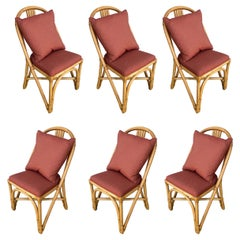Restored Midcentury Rattan Dining Side Chair with Pole Rattan Seatback, Set of 6