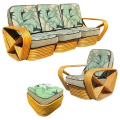 Restored Midcentury Rattan, Living Room Seating Set