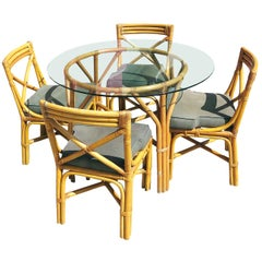 Restored Midcentury Rattan Table with Chairs Dining Set