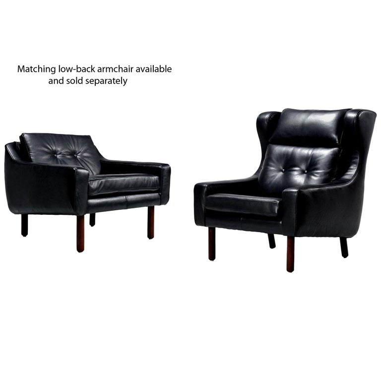 Restored Midcentury Svend Skipper Style Black Leather Wingback Lounge Chair For Sale 1