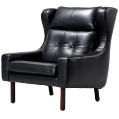 Restored Midcentury Svend Skipper Style Black Leather Wingback Lounge Chair