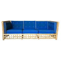 Restored Milo Baughman Style Stick Modernist Rattan Sofa