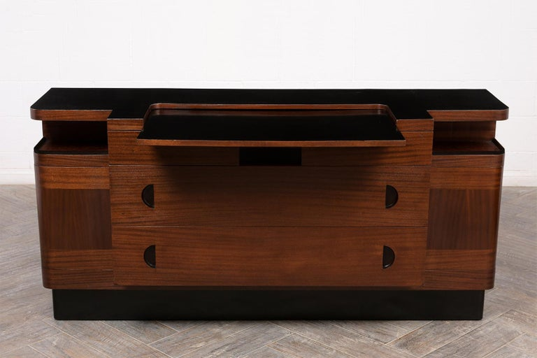 Carved  Italian Mid-Century Modern Lacquered Credenza For Sale