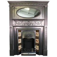 Restored Original Antique Edwardian Tall Cast Iron Fireplace Surround
