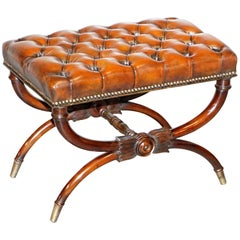 Restored Ornately Carved Brown Leather Regency circa 1800 Chesterfield Footstool