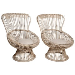Restored Pair of 1950s Margherita Chairs by Franco Albini for Vittorio Bonacina