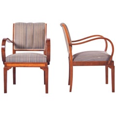 Restored Pair of Art Deco Armchairs, Original Preserved Fabric, Shellac Polish