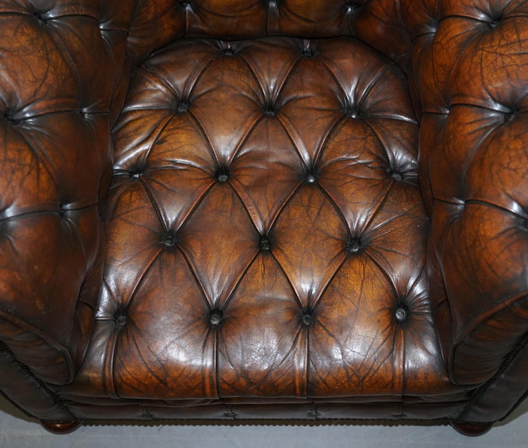 Hand-Crafted Restored Pair of circa 1900 Hand Dyed Cigar Brown Leather Chesterfield Armchairs For Sale