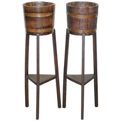 Restored Pair of R A Lister & Co Plant Stands Lovely Barrel Design, circa 1900