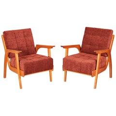 Restored Pair of Czechoslovakia Midcentury Oak Armchairs, 1950-1959