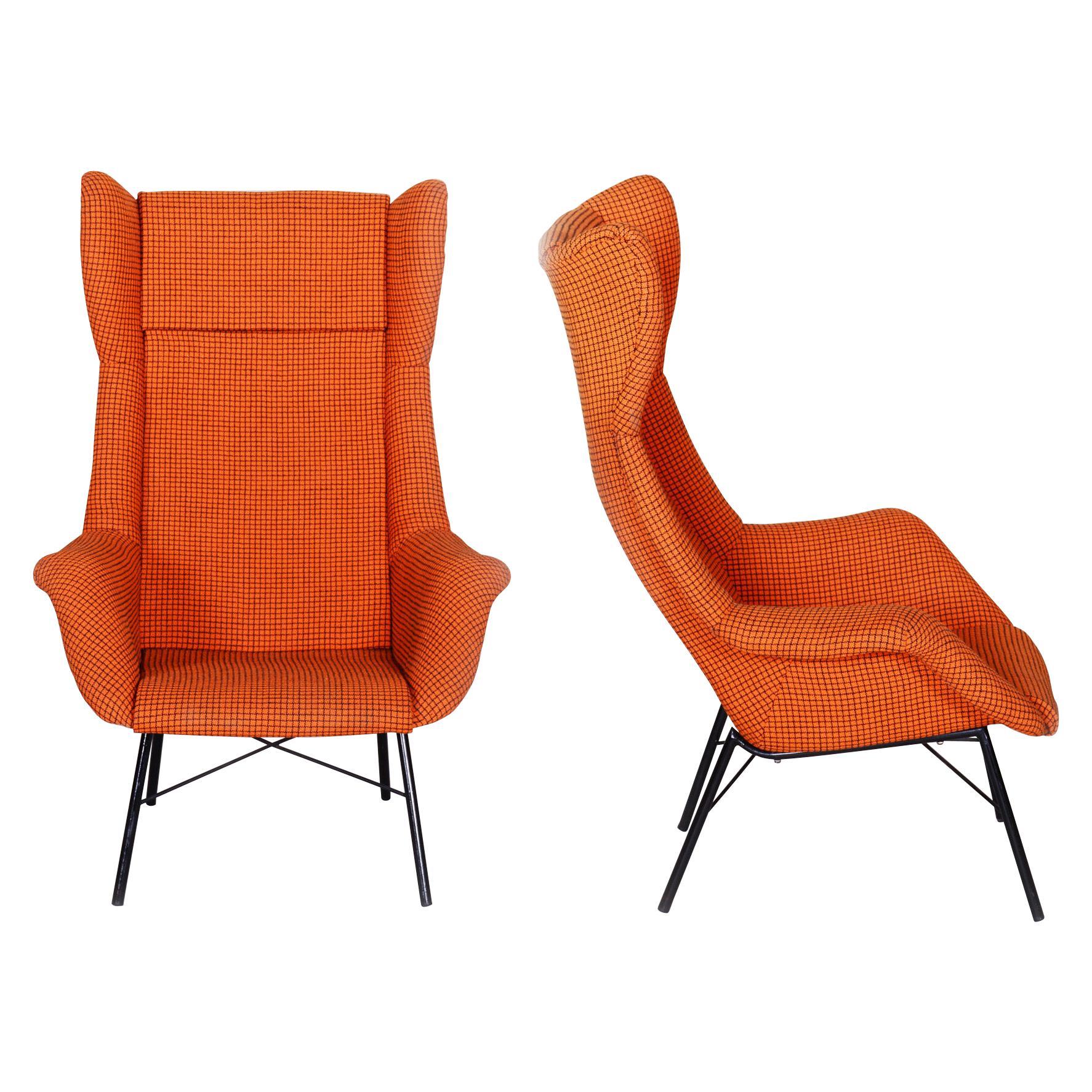 Restored Pair of Czechoslovakian Midcentury Armchairs, 1960s, Original Fabric