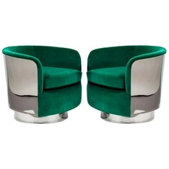 Restored Pair of Green Milo Baughman Chrome Back Barrel Chairs