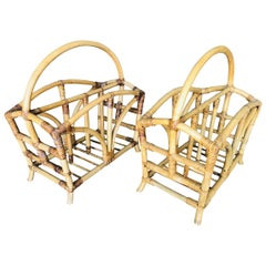 Restored Palm Designed Rattan Magazine Rack with Handle, Pair