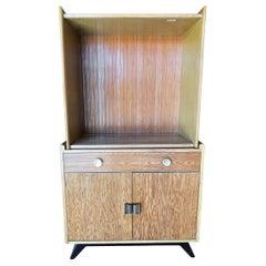 Restored Paul Frankl Combed Wood Sliding Glass Display Cabinet for Brown Saltman