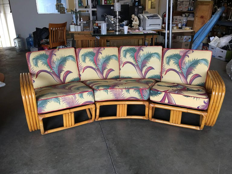 Mid-Century Modern Restored Paul Frankl Four Strand Rattan Four-Seat Corner Sectional Sofa