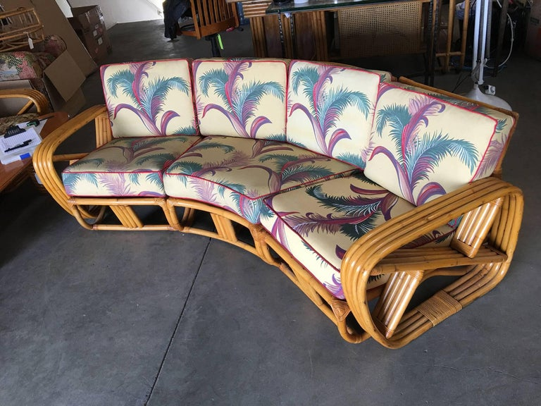 American Restored Paul Frankl Four Strand Rattan Four-Seat Corner Sectional Sofa