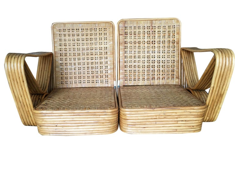 American Restored Paul Frankl Six-Strand Wicker Sofa Rattan Living-Room Set with Cushions For Sale