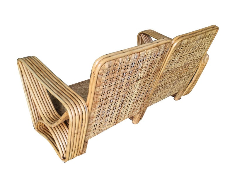 Restored Paul Frankl Six-Strand Wicker Sofa Rattan Living-Room Set with Cushions In Excellent Condition For Sale In Van Nuys, CA