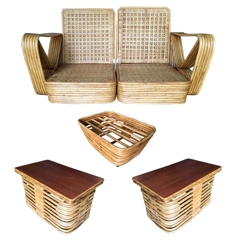 Mid-Century Modern Restored Paul Frankl Six-Strand Wicker Sofa Rattan Living-Room Set with Cushions For Sale