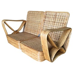 Restored Paul Frankl Six-Strand Wicker Sofa Rattan Living-Room Set W/ Side Table