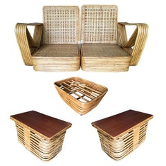 Restored Paul Frankl Six-Strand Wicker Sofa Rattan Living-Room Set with Cushions