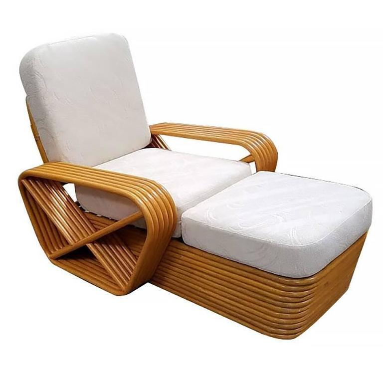 American Restored Paul Frankl Style Chaise Lounge, Six-Strand Square Pretzel Rattan For Sale