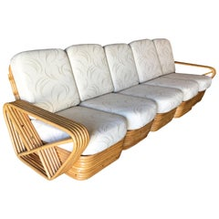 Restored Paul Frankl Style Five-Strand Square Pretzel Five-Seat Sectional Sofa