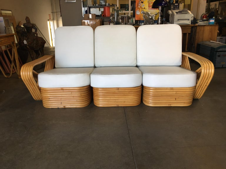 Mid-Century Modern Restored Paul Frankl Style Five-Strand Square Pretzel Sectional Sofa For Sale
