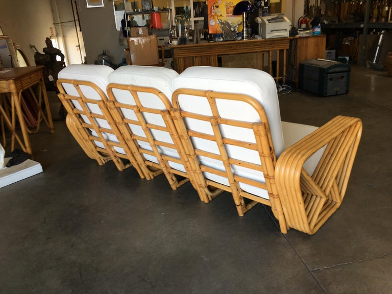 Mid-20th Century Restored Paul Frankl Style Five-Strand Square Pretzel Sectional Sofa For Sale