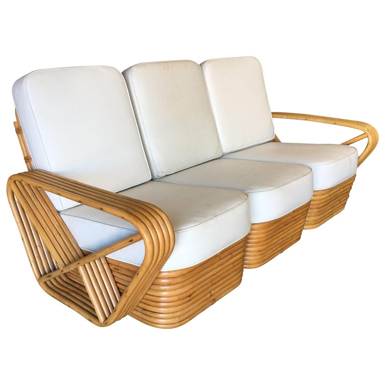 Restored Paul Frankl Style Five-Strand Square Pretzel Sectional Sofa For Sale