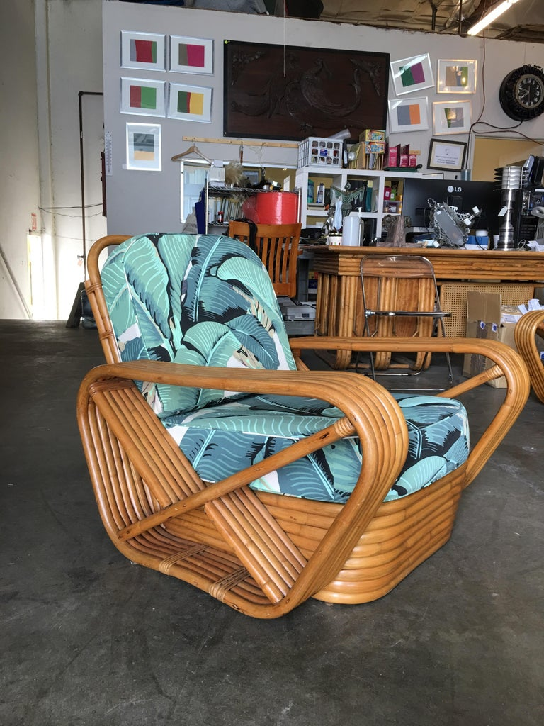 Mid-Century Modern Restored Paul Frankl Style Pretzel Rattan Lounge Chair, Beverly Palms Cushions For Sale