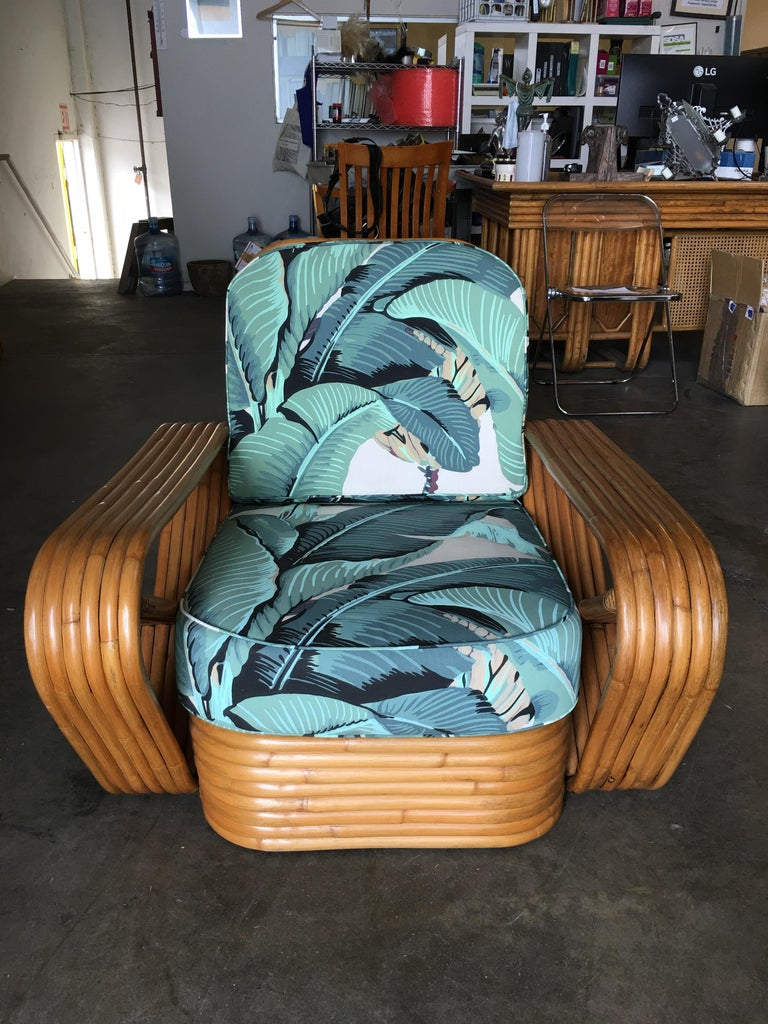 American Restored Paul Frankl Style Pretzel Rattan Lounge Chair, Beverly Palms Cushions For Sale