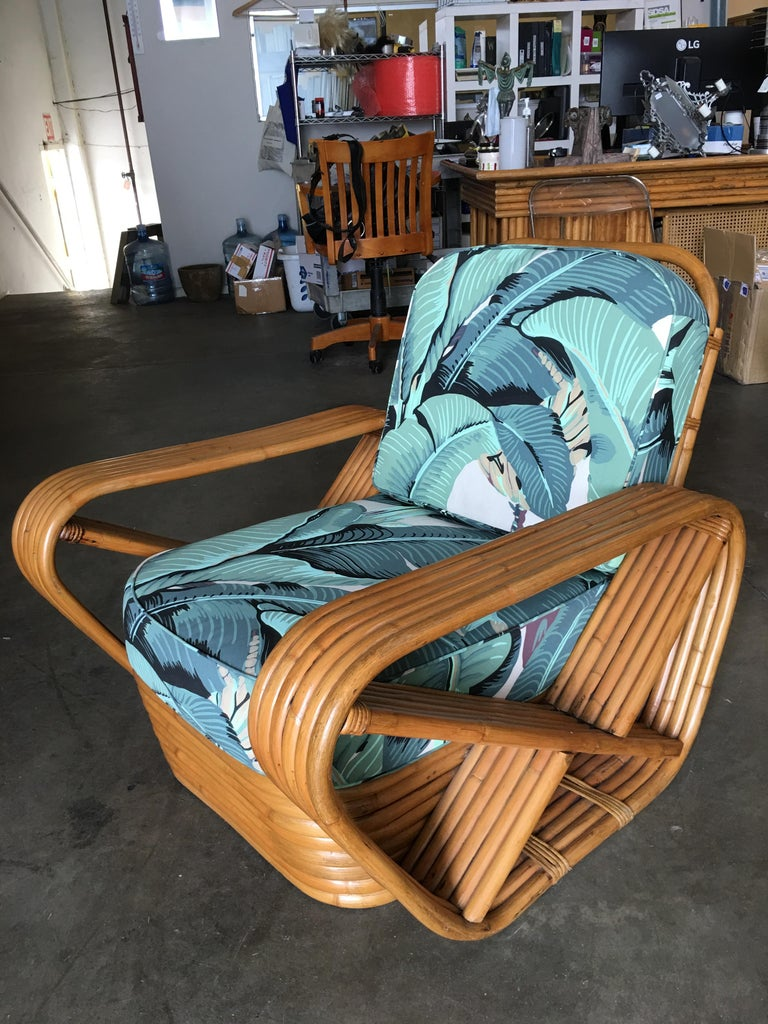 Restored Paul Frankl Style Pretzel Rattan Lounge Chair, Beverly Palms Cushions In Excellent Condition For Sale In Van Nuys, CA