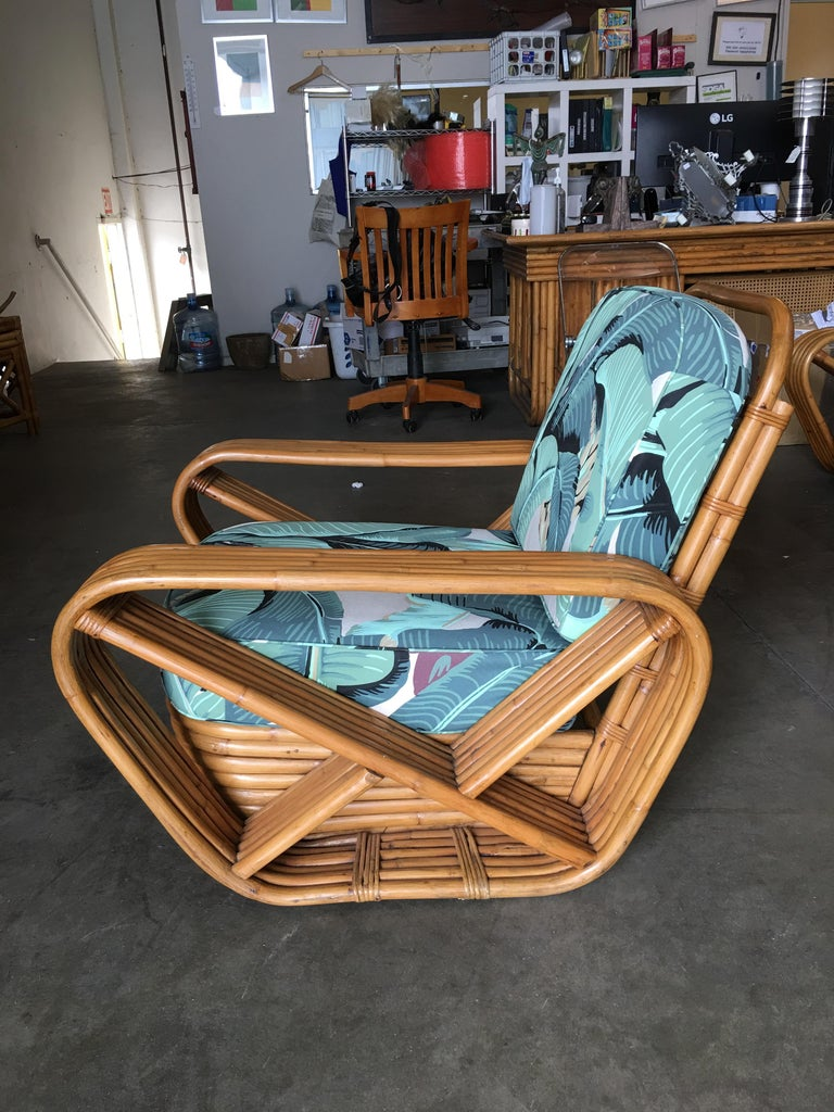 Mid-20th Century Restored Paul Frankl Style Pretzel Rattan Lounge Chair, Beverly Palms Cushions For Sale