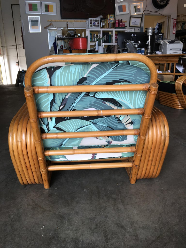 Restored Paul Frankl Style Pretzel Rattan Lounge Chair, Beverly Palms Cushions For Sale 1