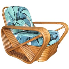 Restored Paul Frankl Style Pretzel Rattan Lounge Chair, Beverly Palms Cushions