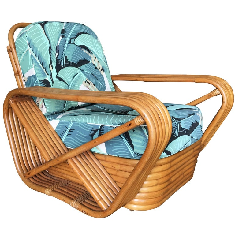 Restored Paul Frankl Style Pretzel Rattan Lounge Chair, Beverly Palms Cushions For Sale