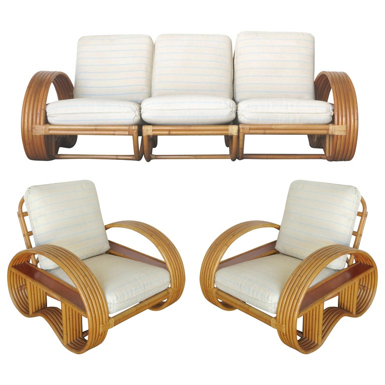 Restored Paul Frankl Style Six-Strand Arm with Mahogany Shelf,  Sofa and Chairs For Sale