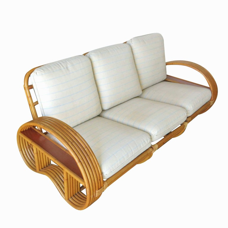 Mid-Century Modern Restored Paul Frankl Style Six-Strand Arm with Mahogany Shelf,  Sofa and Chairs For Sale