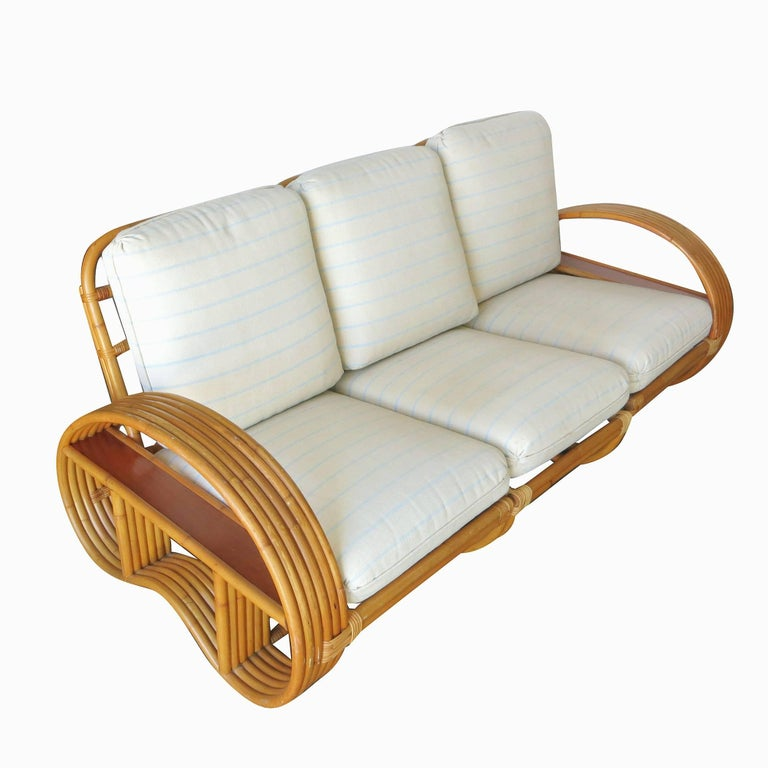 Rattan Restored Paul Frankl Style Six-Strand Arm with Mahogany Shelf,  Sofa and Chairs For Sale