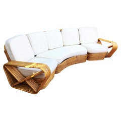 Restored Paul Frankl Style Six-Strand Rattan Five-Seat Curved Sectional Sofa