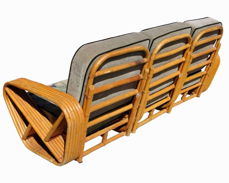Art Deco Restored Paul Frankl Style Six-Strand Square Pretzel 3-Seat Sofa For Sale