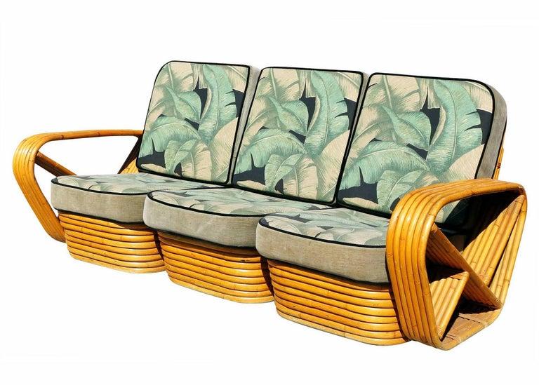 American Restored Paul Frankl Style Six-Strand Square Pretzel 3-Seat Sofa For Sale