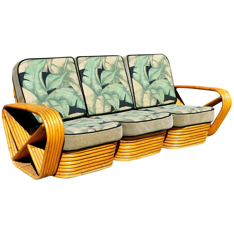 Restored Paul Frankl Style Six-Strand Square Pretzel 3-Seat Sofa For Sale