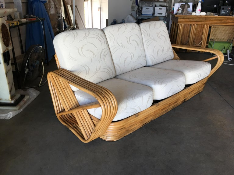 Restored Paul Frankl Style Six-Strand Square Pretzel Five-Seat Sectional Sofa In Excellent Condition For Sale In Van Nuys, CA